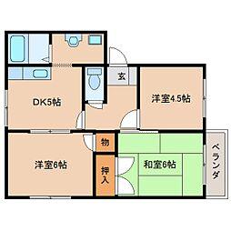 奈良県生駒市東生駒月見町の賃貸アパートの間取り