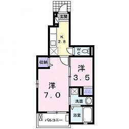 愛知県安城市横山町毛賀知の賃貸アパートの間取り
