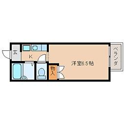 奈良県奈良市芝辻町の賃貸アパートの間取り