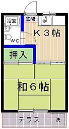 西友コーポ香椎B棟[203号室]の間取り