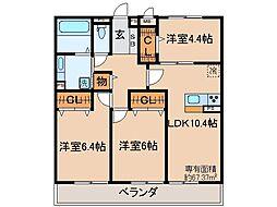 京都府京都市山科区勧修寺東出町の賃貸アパートの間取り