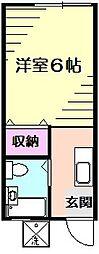 コーポ草風B[1階]の間取り