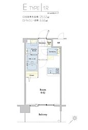福岡市地下鉄空港線 東比恵駅 徒歩5分の賃貸マンション 9階1Kの間取り