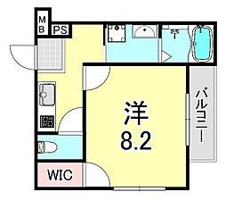 フジパレス吹田金田公園 1階1Kの間取り