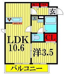 埼玉県さいたま市緑区美園3丁目の賃貸アパートの間取り