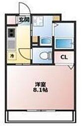 西武新宿線 新所沢駅 徒歩5分の賃貸マンション 4階1Kの間取り