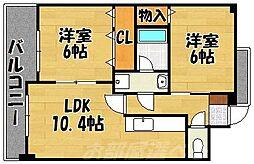 福岡県北九州市小倉北区片野4丁目の賃貸マンションの間取り
