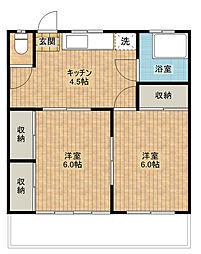 秀栄ハウス[2階]の間取り