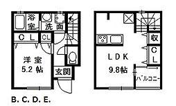 大阪府泉大津市板原町の賃貸アパートの間取り