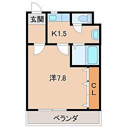 西マンション[3階]の間取り