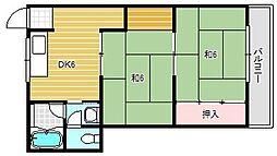 大阪府茨木市玉瀬町の賃貸マンションの間取り