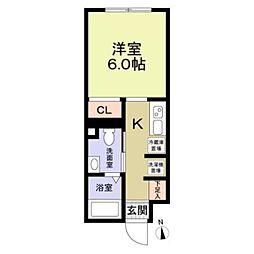 東武東上線 大山駅 徒歩6分の賃貸マンション 3階1Kの間取り