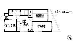 兵庫県川西市湯山台2丁目の賃貸マンションの間取り