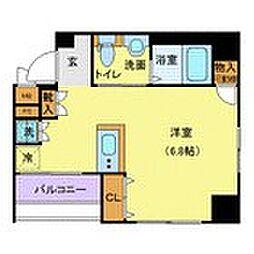 東京メトロ半蔵門線 水天宮前駅 徒歩3分の賃貸マンション 2階ワンルームの間取り