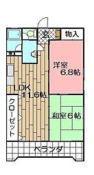 ベルガ三萩野[403号室]の間取り