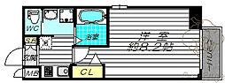 ビガーポリス397 M:COURT天神橋 5階1Kの間取り