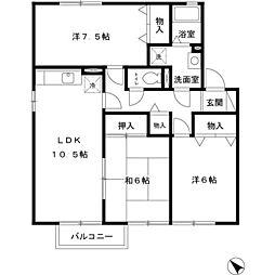 兵庫県赤穂市海浜町の賃貸アパートの間取り
