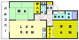 福岡県宗像市自由ヶ丘7の賃貸アパートの間取り