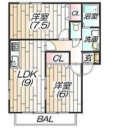 ポネ2[1階]の間取り
