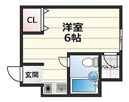 JPアパートメント守口V 4階ワンルームの間取り