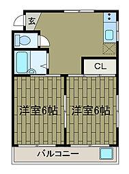 シルクハイツB[2階]の間取り