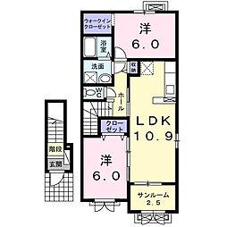 テルヌーラ A[2階]の間取り