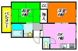 サンビレッジ・ラポールC棟 202号室[2階]の間取り