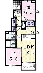 プラシード・K A[1階]の間取り
