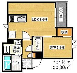 西鉄天神大牟田線 井尻駅 徒歩3分の賃貸アパート 1階1LDKの間取り