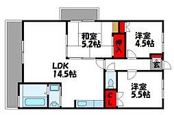 JR鹿児島本線 福間駅 徒歩5分の賃貸マンション 6階3LDKの間取り
