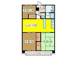 東京都府中市四谷3丁目の賃貸マンションの間取り