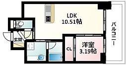 Osaka Metro御堂筋線 江坂駅 徒歩5分の賃貸マンション 12階1LDKの間取り