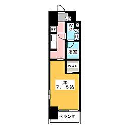 ルフォンプログレ上野入谷II 7階1Kの間取り
