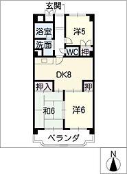 リバーサイド丸八苑[3階]の間取り