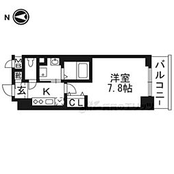京都市営烏丸線 今出川駅 徒歩22分の賃貸マンション 3階1Kの間取り