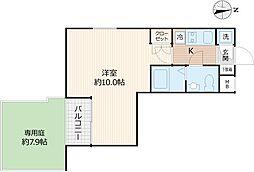 Beverly Homes 下赤塚 3階1Kの間取り