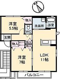 広島県福山市曙町2の賃貸アパートの間取り