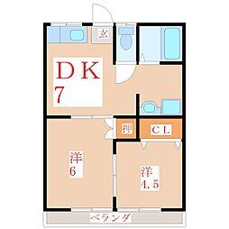 第2高見堂ハイツ[2階]の間取り
