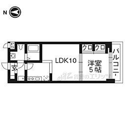 京都地下鉄東西線 二条城前駅 徒歩4分の賃貸マンション 1階1LDKの間取り