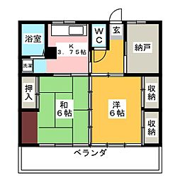 ミノルマンションA[2階]の間取り