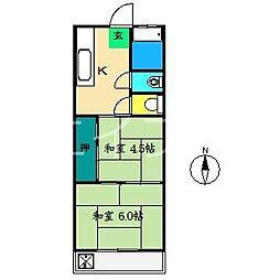 山本マンション(南万々)[2階]の間取り