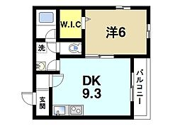 Alce田原本 2階1DKの間取り