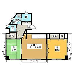 グランレイム城北 801号室[8階]の間取り