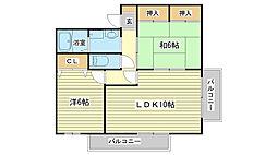 グレースコート東今宿[A202号室]の間取り