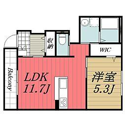 JR内房線 長浦駅 徒歩15分の賃貸アパート 1階1LDKの間取り