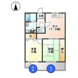 ヴェルデュール敷島[2階]の間取り