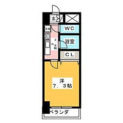 リヴェール白壁 5階1Kの間取り