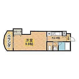 フォート宮ノ下 9階1Kの間取り