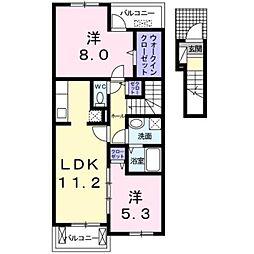 東京都日野市東豊田1丁目の賃貸アパートの間取り
