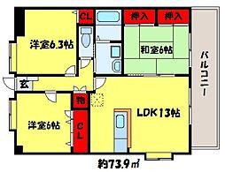 フレア福神六番館[2階]の間取り